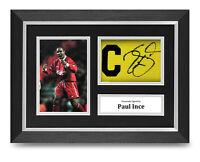 Paul Ince Signed A4 Framed Captain Armband Photo Display Liverpool Autograph COA