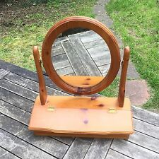 Oval Swing Mirror Wooden Vintage Vanity Makeup Dressing Table With Storage Box