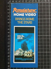 First Roadshow Home Video promo FLIER rare MAD MAX Australian VHS flyer precert