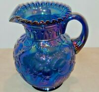 "Fenton Apple Tree Iridescent Blue Carnival Glass Pitcher Blue 9"" Tall"