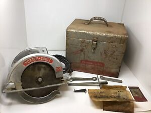 "Vintage Porter Cable Model 108 8"" Circular Saw W/ Case & Extras Tested Works"