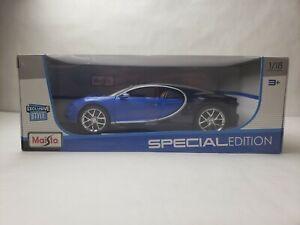 Maisto Special Edition Bugatti Chiron 1:18 Scale Diecast Model Car Blue NIB