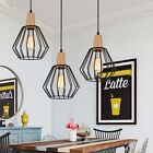 Wood Pendant Light Modern Ceiling Lights Black Lamp Kitchen Chandelier Lighting