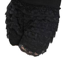 Black Lace Hot Pants Ruffle Knicker Underwear Mini Skirt Shorts Skorts UK