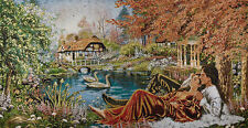"""46""""TOP QUALITY WALL ART NEEDLEPOINT WOVEN PAINTING TAPESTRY: COTTAGE LOVER LAKE="""