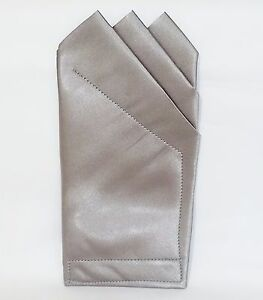 POCKET SQUARE  Gray 3 Point Satin  - Custom prefolded & Sewn