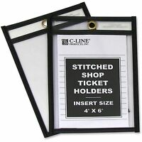 "C-Line Shop Ticket Holder Stitched 4""x6"" 25/BX Clear Vinyl 46046"