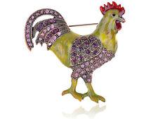 Copper Tone Purple Rhinestones Yellow Green Chicken Rooster Brooch Pin