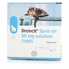 Droncit Spot On Cat Wormer 2 Tubes Tapeworm Deworming Treatments.