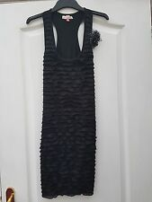 MISO BLACK STRETCHY RUFFLE FRILL FRONT WHITE SPOT CORSAGE BODYCON TUNIC DRESS 6