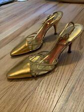 Vintage Schiaparelli Shoes Heeled Sandals Gold