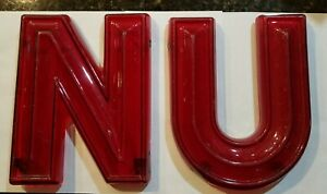 """NU University of Nebraska Vintage 3D Red Theater Marquee Letter 8"""" x 10"""" X 1-1/4"""