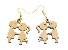 Girl shaped Fashion Women Jewelry Gift Dangle Wooden Earring Kissing Boy &