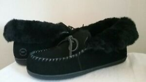 Suede Leather Moccasin Mocs Shearling Roll Cuff House Indoor Outdoor Slippers 11