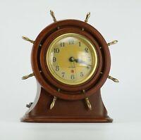 Vintage Seth Thomas Wooden Nautical Mantle Shelf Clock Electric Works Great