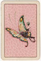 Playing Cards 1 Single Card Old Vintage FLAPPER GIRL Lady + BUTTERFLY 2 Naipes