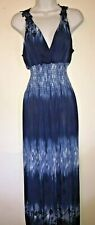Multicolored Deep Blues Embroidered Back Women's Halter Top Maxi Dress-Size L