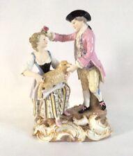 "Rara Meissen figurine Figural Grande Grupo Pastor & Pastora 19cm 7.5"""