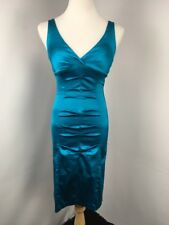 Cache Bright Blue Bodycon Ruched Wiggle Pencil Dress Party Evening Sz 6 USA MADE
