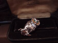 Vintage Owl Brooch with Amber Topaz Turmaline Green Crystals. Rhodium Plated