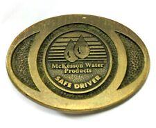 "Vintage ""McKesson Water Products Safe Driver"" Oval Metal Belt Buckle, 1991"