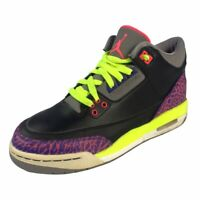 Nike Air Jordan 3 Retro Black Atomic Joker Purple White 441140-039 Size 5Y