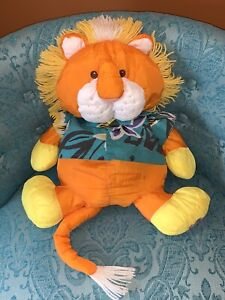 Vintage Fisher Price Puffalump Orange Lion Plush Wild Green Hawaiian Shirt 1987