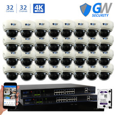 32CH NVR (32) 4K 8MP 3X Zoom Microphone POE Dome Security Camera System 16TB HDD