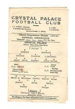 Crystal Palace v Bristol City Reserves Programme 25.1.1958