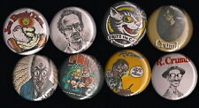 """R Crumb 1"""" Pins Buttons Badges Set of 8 Underground Comics Fritz the Cat Zap"""
