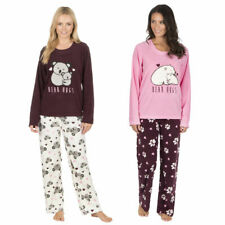 Ladies Thermal Microfleece Pyjama Set Polar Bear Hugs Top Bottoms Lounge Wear