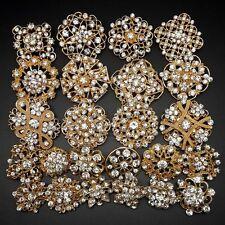 Lot 24pc Mixed Alloy Gold Rhinestone Crystal Brooches Pins DIY Wedding Bouquet