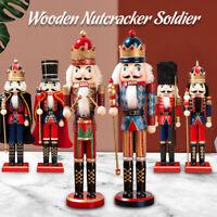 15'' Wooden Nutcracker Doll Soldier Mini Vintage Ornaments Christmas Home Decor