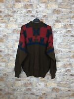 VINTAGE 90'S COSBY GEOMETRIC NEW WINTER WOOL WARM JUMPER MENS SIZE LARGE #492