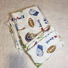 MVP Junior Varsity Full Flat Sheet Pillow Case Pottery Barn Kids 100% Cotton