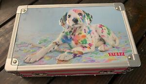 "Vaultz Supply & Pencil Box 5"" x 2.5"" x 8.5"" Embossed Painted DALMATIAN DOG Puppy"