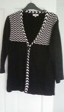 Country Casuals black cardigan with black and white trim M