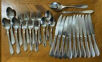 Cambridge Stainless EVANSTON Glossy Forks Knives Spoons Teaspoons Lot of 26