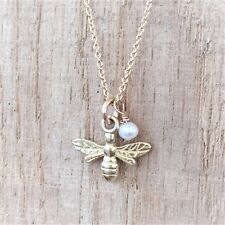Bumble Bee Necklace Yellow Gold Vermeil And Pearl Chain & Box UK Made