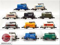 Z 1:220 Spur Märklin mini-club Kesselwagen kurz Eisenbahn freight cars Set 11x <