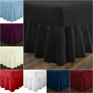 Plain Dyed Fitted Valance Sheet Percale Frilled PolyCotton Bed Sheet Double king
