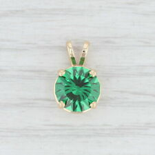Green CZ Pendant Round Solitaire Drop 14k Yellow Gold
