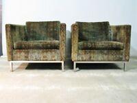 *PAIR* C. 1970 Dux Swedish High Style Contemporary Armchairs; Jack Larsen Fabric