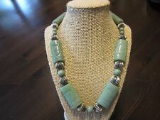 CHINESE VTG CARVED Celadon SHOU JADE BEADED 925 SILVER CLASP Chunky NECKLACE 21""