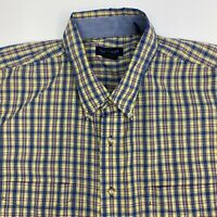 Van Heusen Button Up Shirt Mens XXL Wrinkle Free Yellow Blue Plaid Short Sleeve