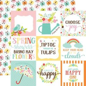 "Echo Park Hello Spring - 4x4 JOURNALING CARDS  12x12"" d/sided scrapbooking paper"