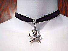 BLACK VELVET SILVER SKULL & CROSSBONES CHOKER skeleton PIRATE gothic necklace A4