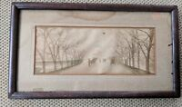 Vintage Antique Framed Watercolor Tinted Photo Wall Hanging Circa 1900 13 x 7.5""