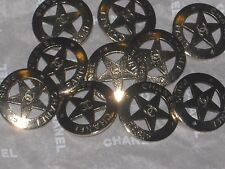 CHANEL 9 CC LOGO FRONT DALLAS STAR BUTTONS 12 MM / SMALL NEW LOT 9 MATTE GOLD