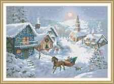 Counted Cross Stitch Kit - Christmas Village Snow Scene